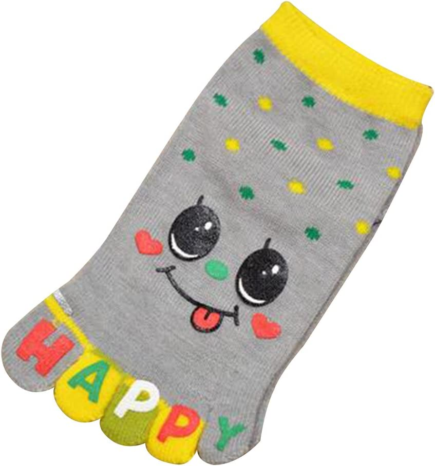 Baiyu Kids Cute Smile 5 Toes Crew Socks Cotton Breathable Non-slip Toe Split Ankle Full Grip Sports Socks for 3-5 Years Old Children Color Green//Yellow//Rose Red//Gray//Orange//Blue