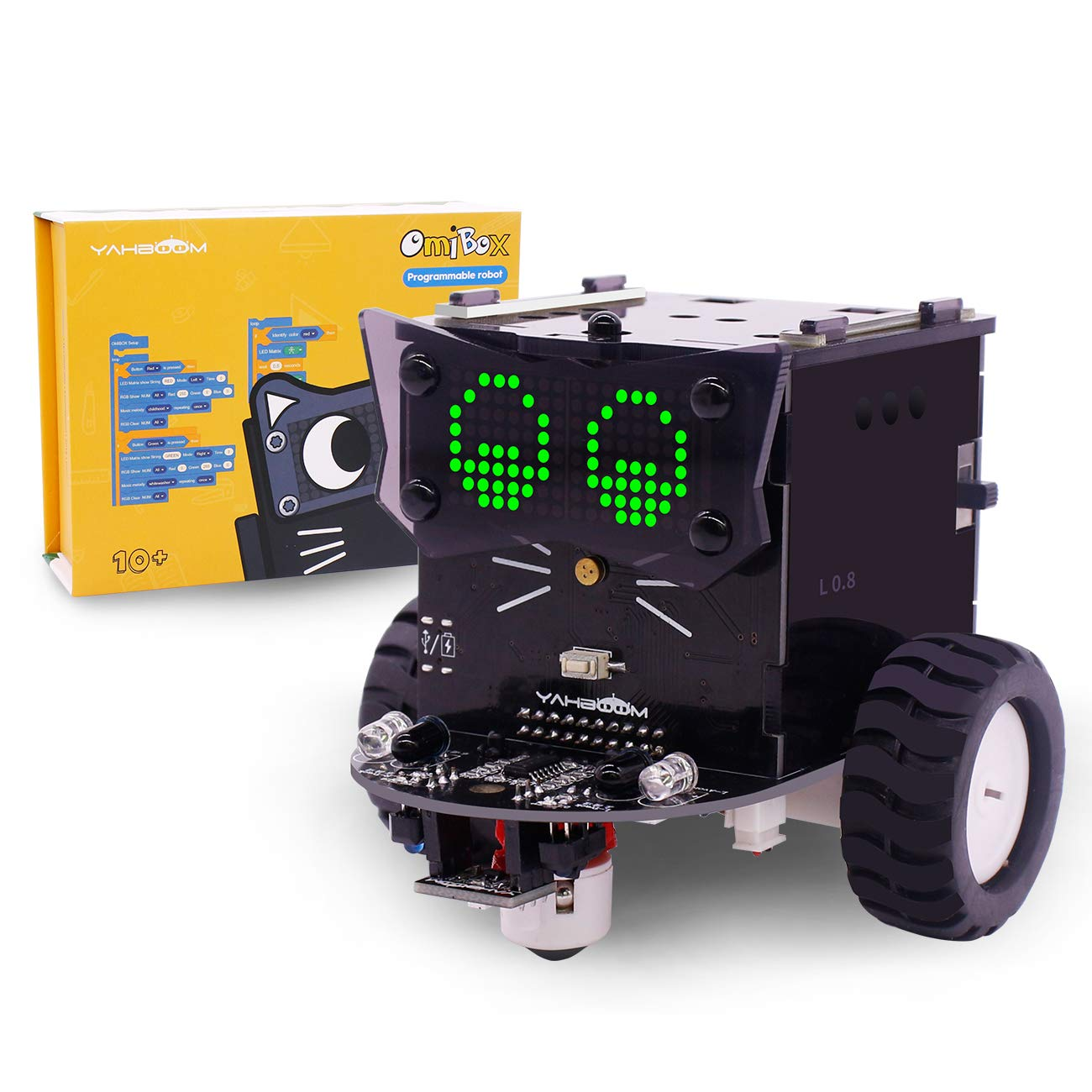 Yahboom Robot Kit Based on Arduino / Scratch 3.0 for Kids to Learn Coding STEM Education Science Electronics DIY Toy Car with Tutorial (Omibox)