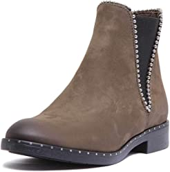 65e1d897aa2036 Justin Reece Ladies Soft Leather Pull on Chelsea Boot with Pearl Lie Detail  Around Collar