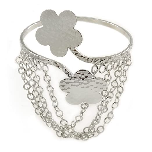 Avalaya Silver Plated Hammered Double Heart Armlet Bangle - Adjustable frMFAMO