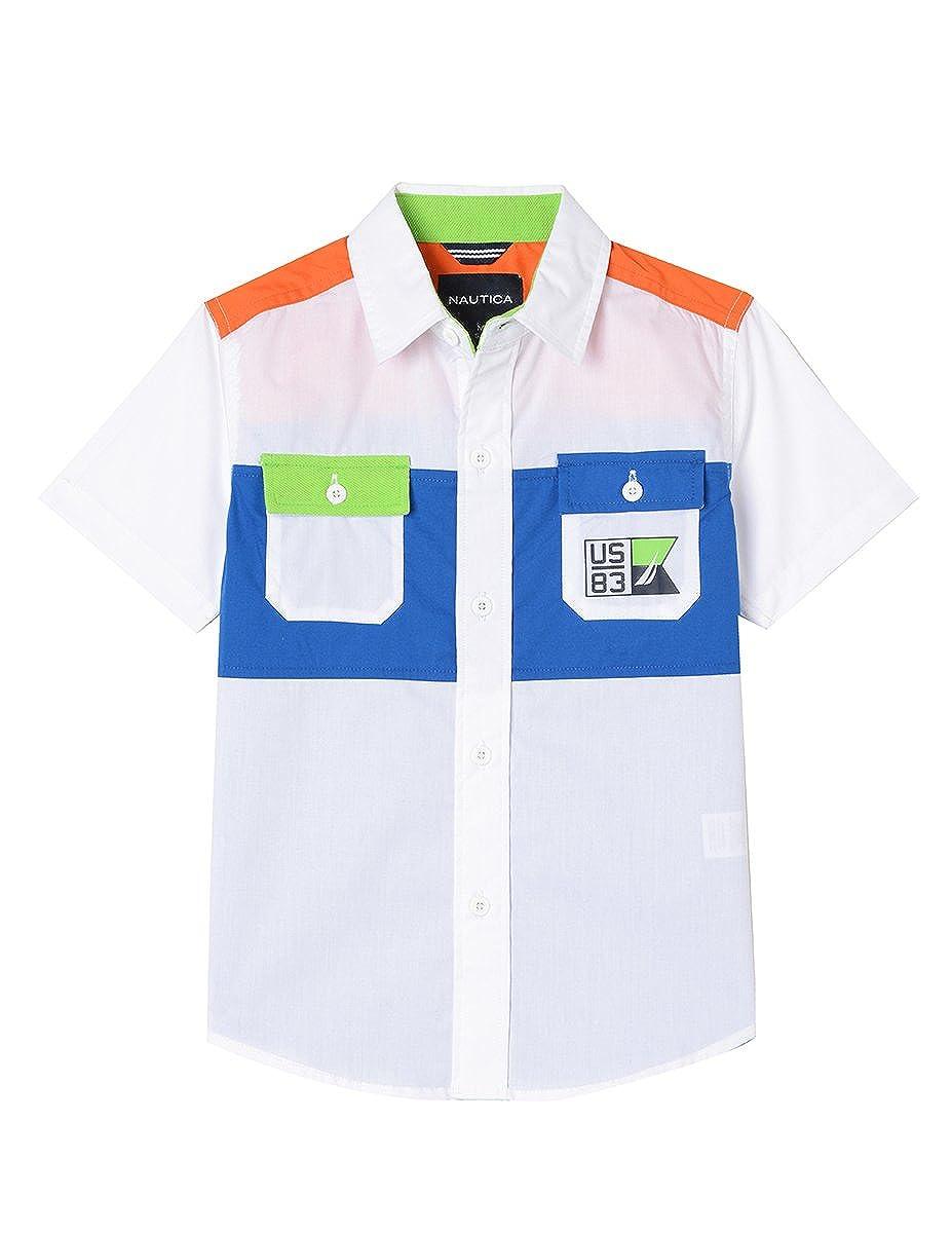Nautica Boys' Short Sleeve Printed Woven Shirt