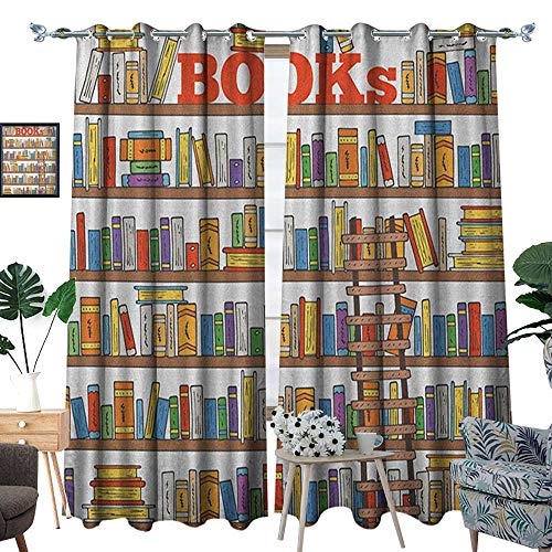 Modern Thermal Insulating Blackout Curtain Library Bookshelf with A Ladder School Education Campus Life Caricature Illustration Patterned Drape for Glass Door W108 x L84 Multicolor