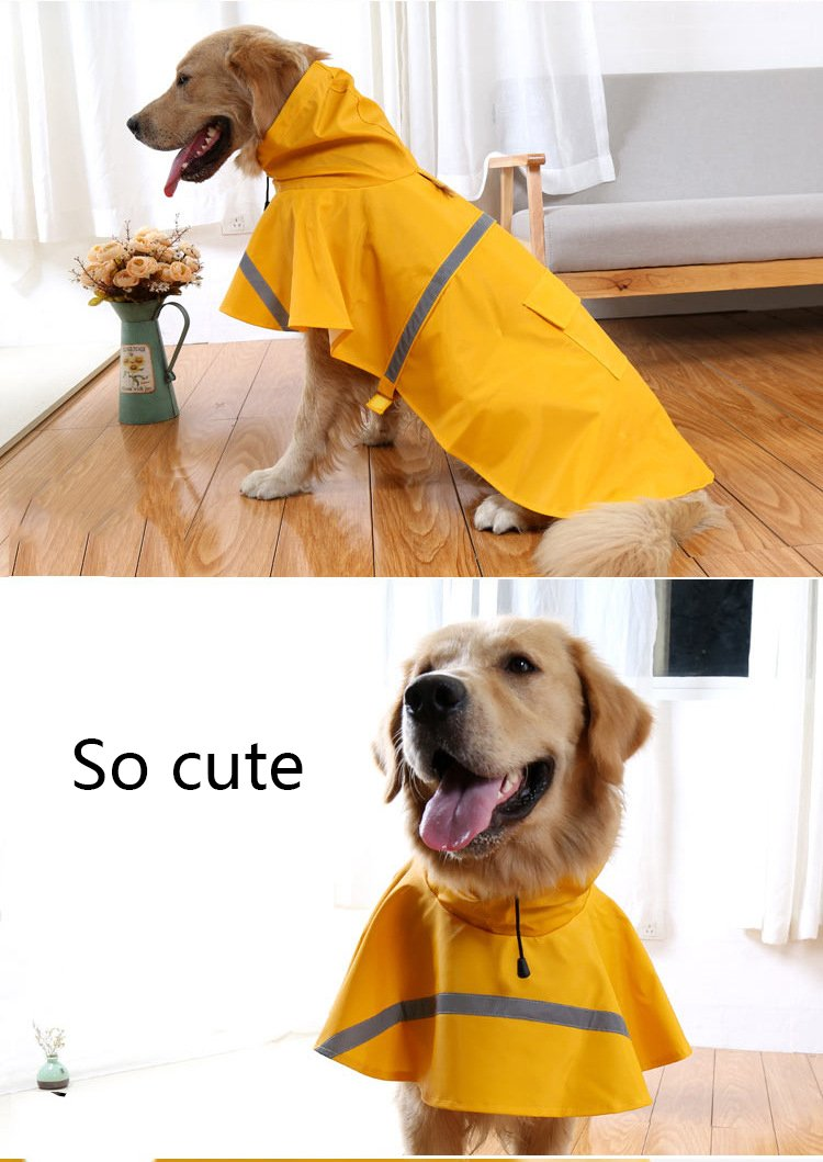 Hotumn Large Dog Raincoat Dog Waterproof Clothes Adjustable Pet Clothes Lightweight Rain Jacket Poncho Hoodies with Strip Reflective (XXL) by Hotumn
