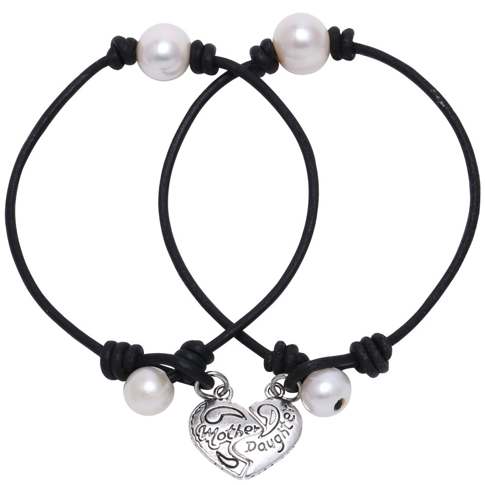Mother's Day Gift Women's Cultured Freshwater Single Pearl Bracelet and Leather Cord with Charm Jewelry 7.8'' Black