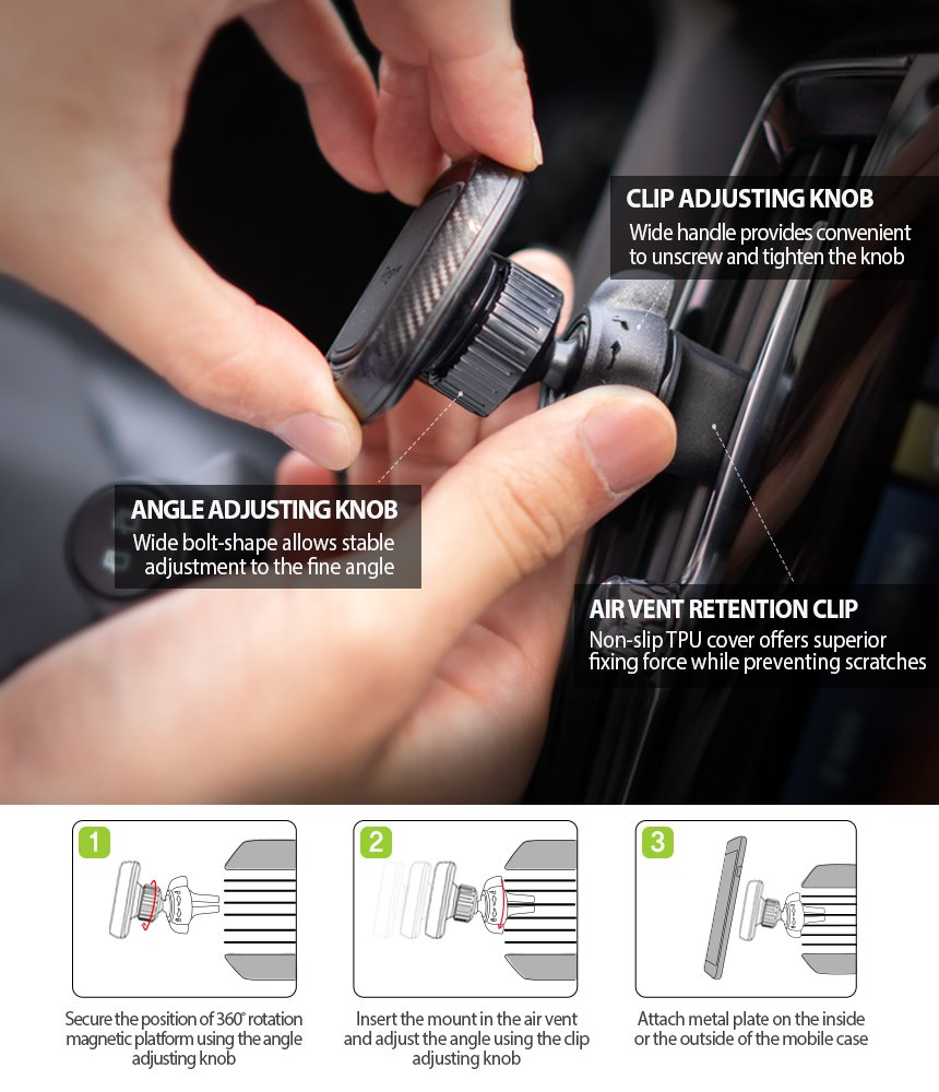 2 in 1 Package Ringke Power Clip Air Vent Phone Holder Car Mount Double Knob Space Saving Technology Safe Magnet Air Vent and Dashboard Stand 4336706824