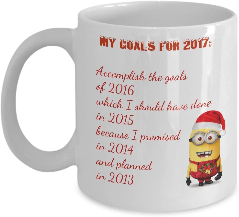 Amazon Com The Minions Christmas Coffee Mug My Goals For 2017