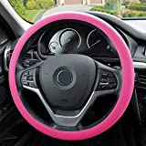 FH Group FH3001BABYPINK BABYPINK FH3001 Silicone Snake Pattern (Massaging Grip) Steering Wheel Cover, Baby Pink Color-Fit Most Car, Truck, SUV, or Van