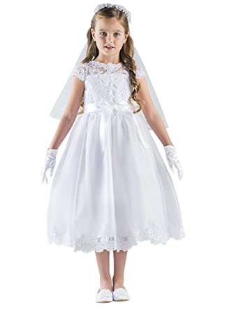 b04c00394c8 US Angels Cap Sleeve Illusion Lace Bodice w Full Skirt   Lace Hem Dress (