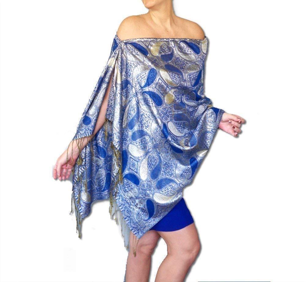Amazon Com Plus Size Metallic Blue Shawl Top Silver Wedding Wrap