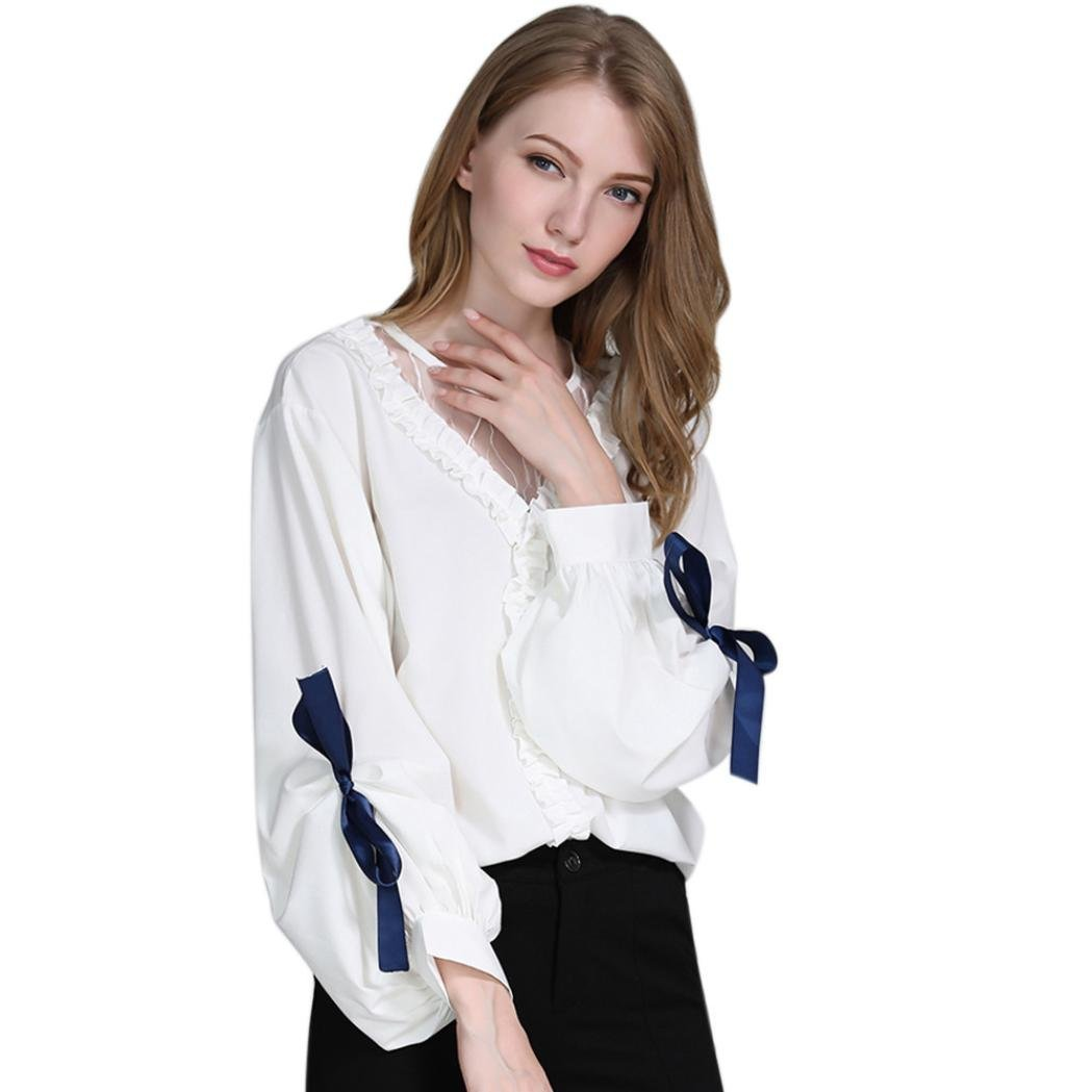Women Mesh Patchwork O Neck Ruffles Lantern Bowknot Sleeve Autumn Shirt (XL, White)