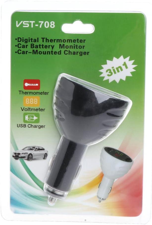 Ycncixwd Thermom/ètre voltm/ètre num/érique LED pour voiture Chargeur USB Moniteur de temp/érature multicolore