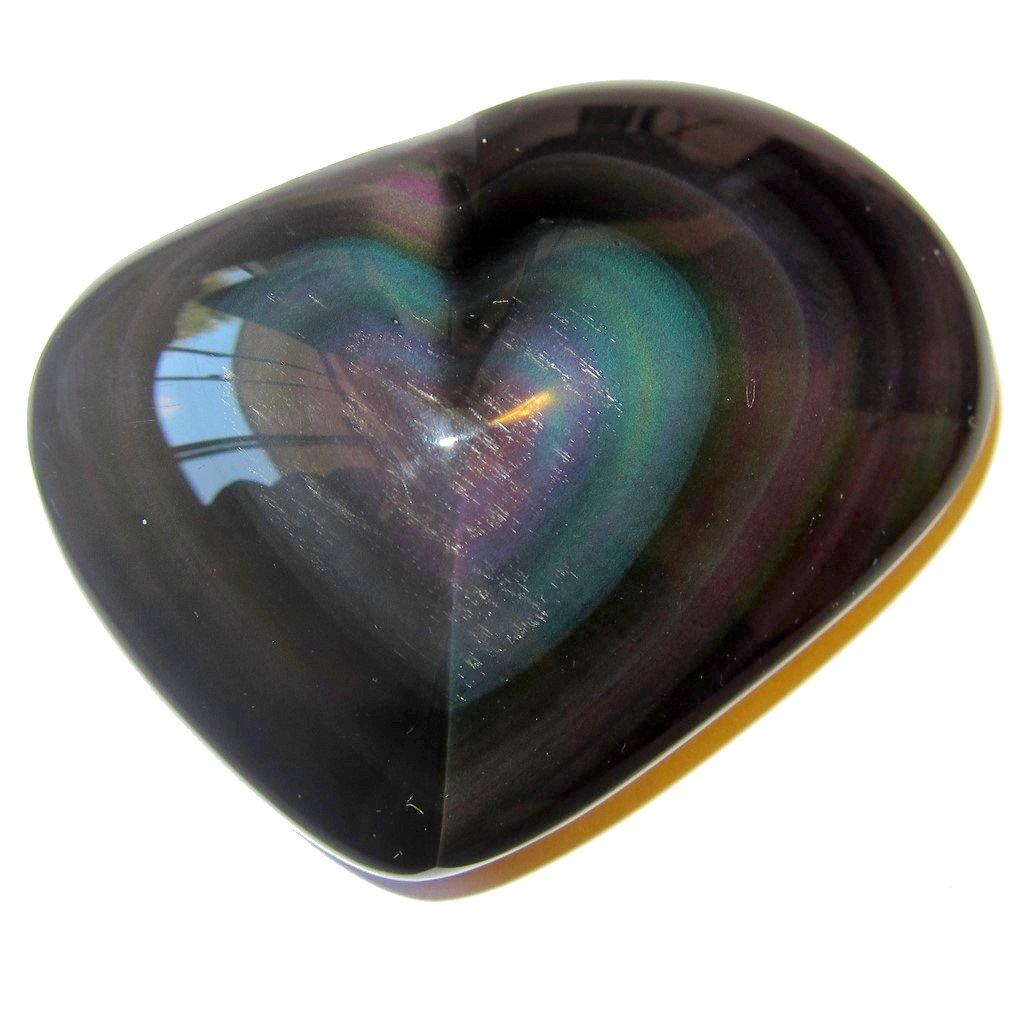 Obsidian Heart Rainbow 52 Pink Green Chakra Crystal Pretty Love Gift Stone Mineral, Exact One 2.7''