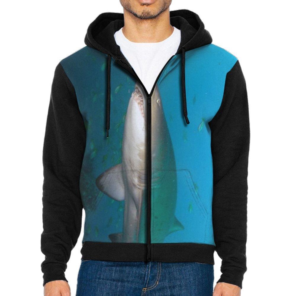 SESY Mens Hoodie Long Sleeve Sweatshirt Great White Shark Cool Printed Hooded Pullover Pocket Black