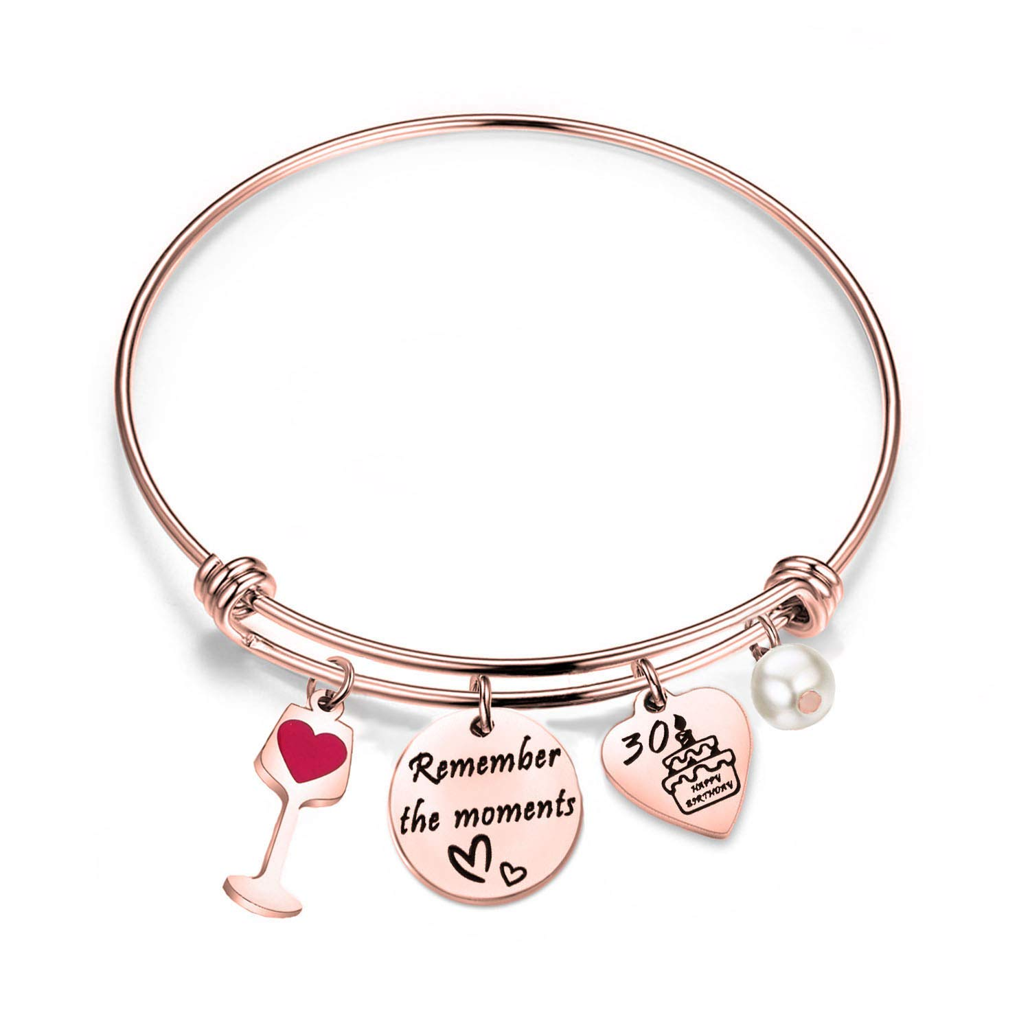 bobauna Birthday Gift for Sweet 16 18th 21st 30th Rose Gold Stainless Steel Expandable Wire Bangle Bracelet