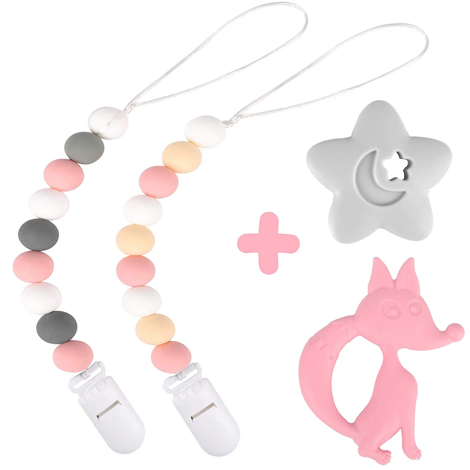 Teething Toy or Soothie Baby Shower Gift Set Teething Toy Silicone Pacifier Clip by Dodo Babies Pack of 2 Premium/Teething Bead for Girls Modern Designs Universal Holder Leash for Pacifiers