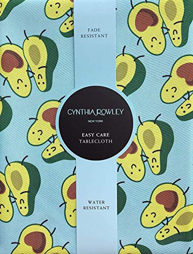 Cynthia Rowley Easy Care Tablecloth Smiling Avocado Halves in Love on a Turquoise Background (60 Inches x 104 ()