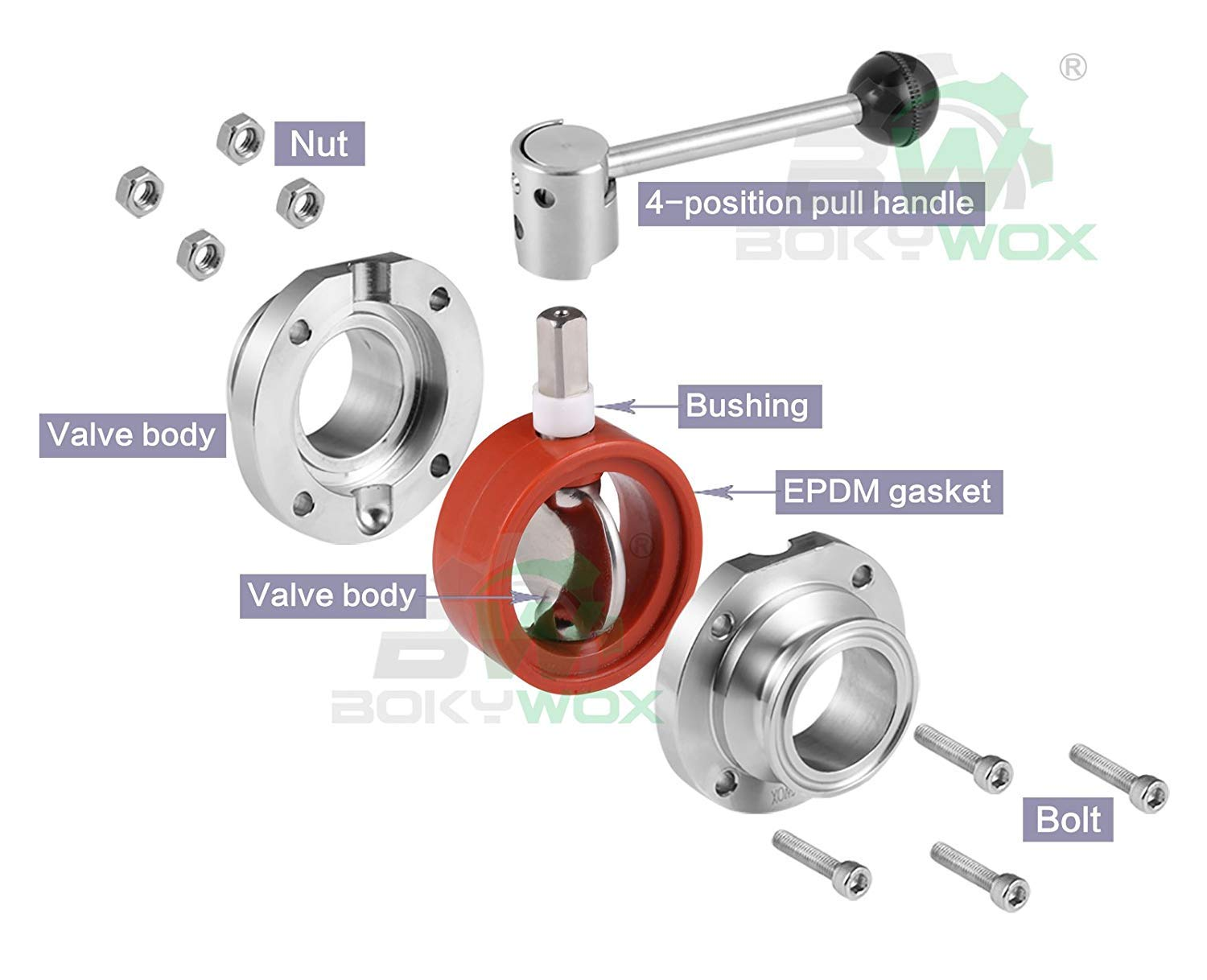 BOKYWOX Sanitary Butterfly Valve with Pull Handle Stainless Steel 316 Tri Clamp Clover 1 Tube OD