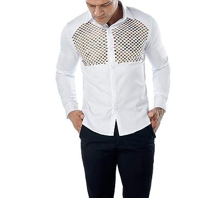 465ca8635d7072 Yvelands ¡Oferta de liquidación Camiseta de Manga Larga para Hombre  Transparente Slim Fit Show Ropa