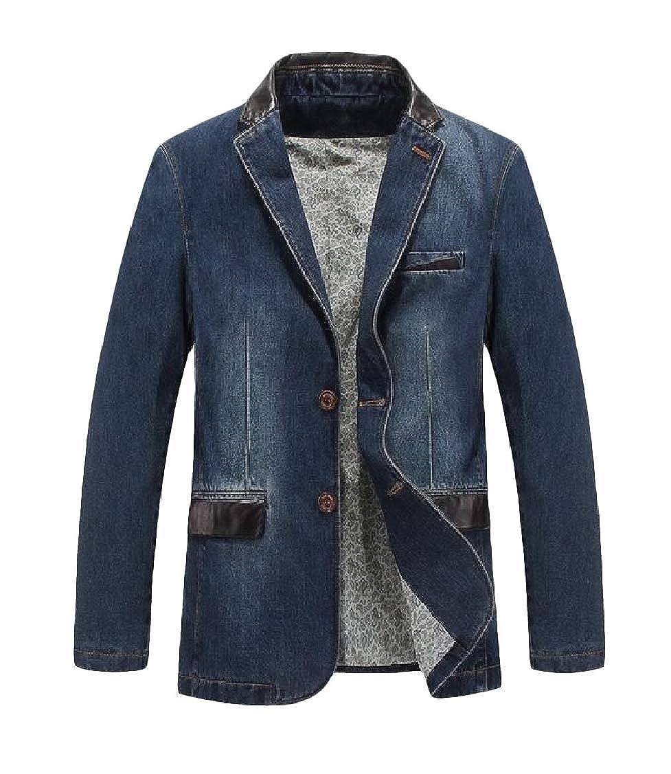 Sweatwater Mens Coat Formal Denim Slim Jean Two Buttons Blazer Jackets