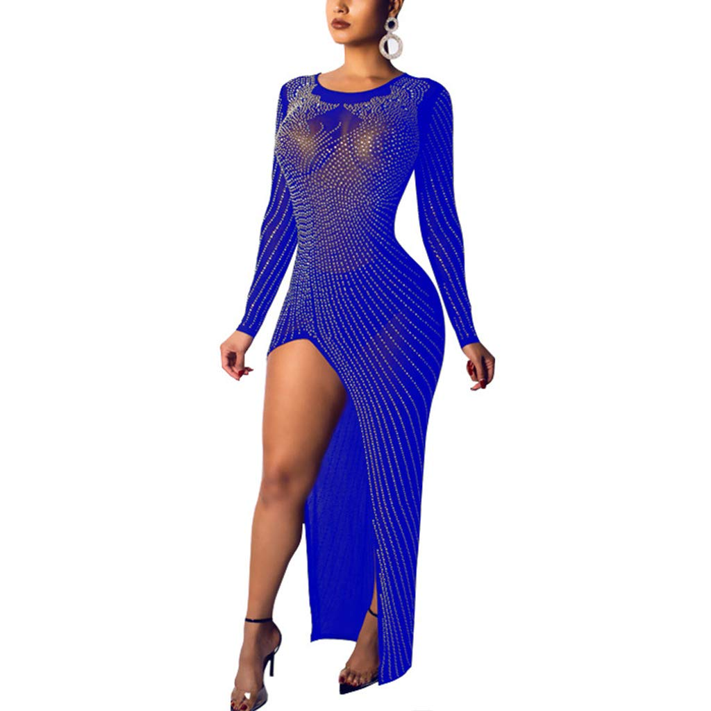 3 bluee Remxi Women Sexy Long Sleeve Rhinestone Mesh Evening Party Club Bodycon Maxi Dresses