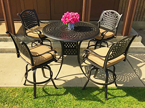 Everhome Designs - Malibu 5-Piece Cast Aluminum Patio Bar Set with 48