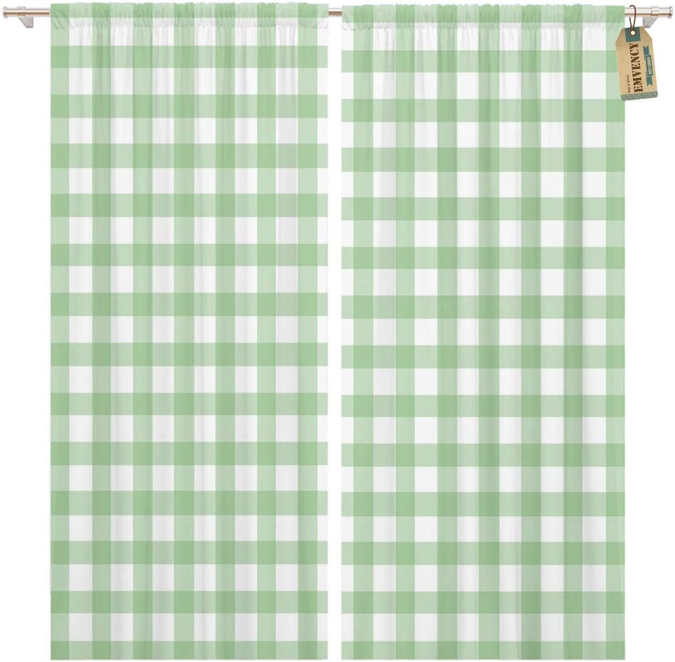 Golee Window Curtain Abstract Gingham in Green Buffalo Casual Check Checkered Country Home Decor Pocket Drapes 2 Panels Curtain 104 x 96 inches