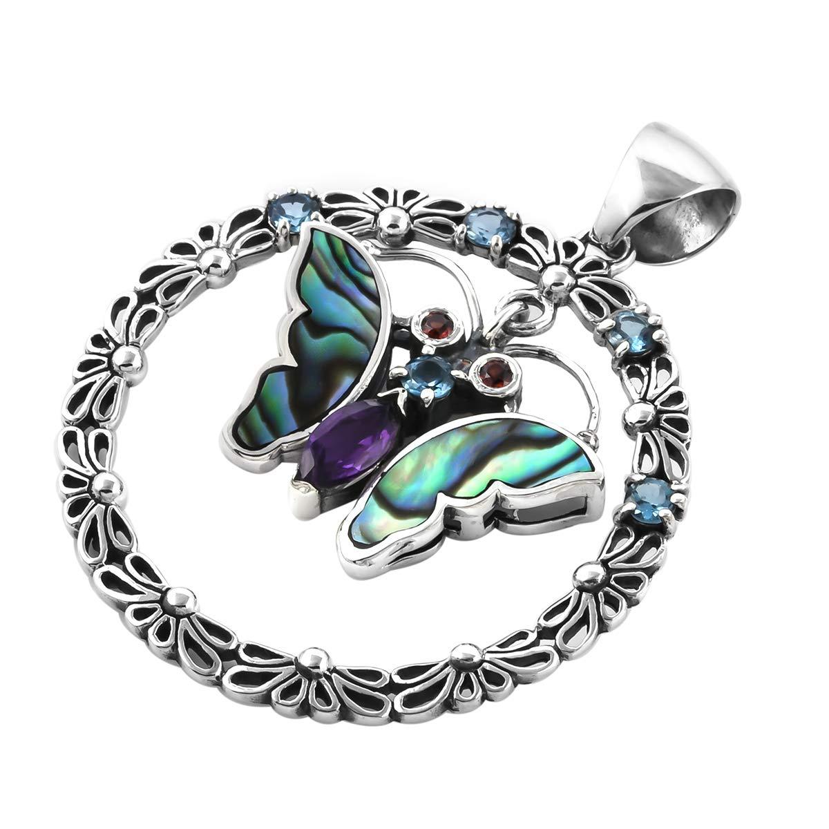 Abalone Shell Pendant 925 Sterling Silver Blue Topaz Amethyst Boho Handmade Jewelry for Women