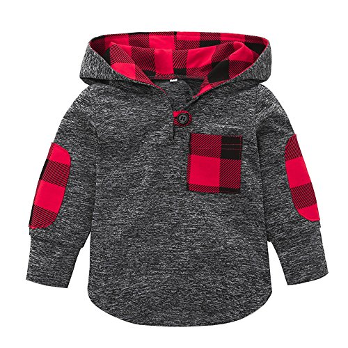 KONFA Toddler Baby Boys Girls Stylish Plaid Hooded Sweatshirt Coat,Suitable for 0-3 Years Old,Winter Warm Jackets Thick Cloak Tops (Gray, 18-24 -