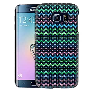 Samsung Galaxy S6 Edge Case, Slim Snap On Cover Square Green Blue Pink Chevrons Case