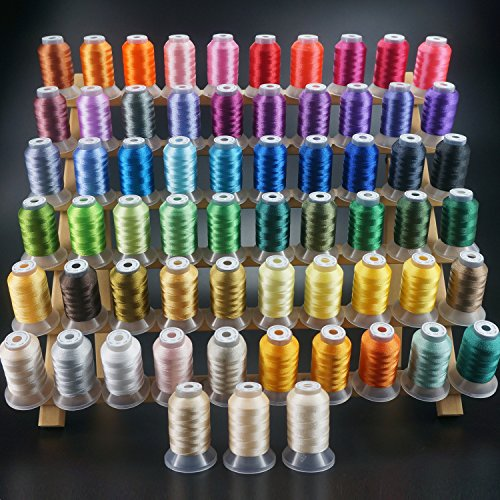 New brothread 63 Brother Colors Polyester Embroidery Machine Thread Kit 500M (550Y) Each Spool for Brother Babylock Janome Singer Pfaff Husqvarna Bernina Embroidery and Sewing Machines (Home Needles Embroidery Machine)