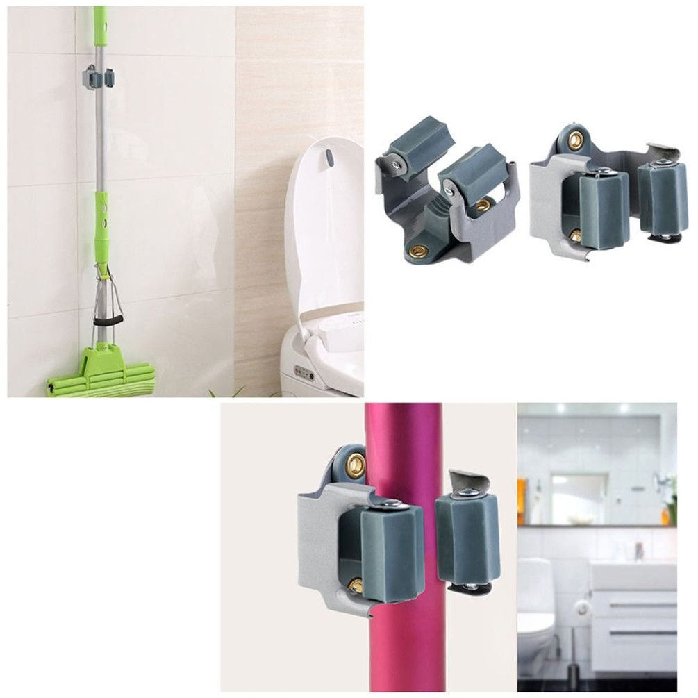 10Pcs Wall Mount Single Mop And Broom Holder Hanger Cleaning Tool Organizer