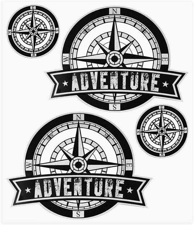 4R Quattroerre.it Quattroerre 9168 Kit Adventure Stickers Adhesivos para Baúles Moto, Rosa de los vientos 2
