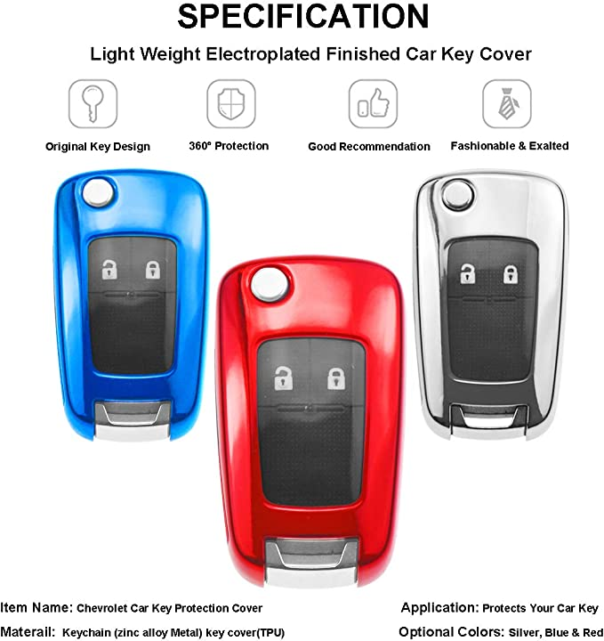 shunyang Key Case 4 Buttons TPU Flip Remote Key Fob Case Cover for Chevrolet Camaro Cruze Equinox Malibu SS Sonic Spark Volt Aveo Epica SAIL 3 Buick Lacrosse Encore GL8 Regal Excelle