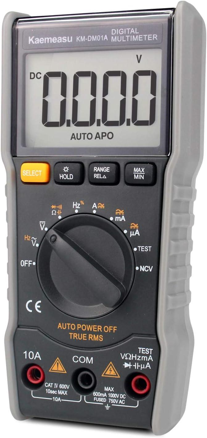 Digital Multimeter,6000 Count Mini DC/AC Voltage Current Capacitance Resistance NCV True RMS Diode Tester with Zero Line/FireWire Measurement(TEST) Electronic Maintenance instrument Tools, KM-DM01A …