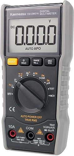 Digital Multimeter,6000 Count Mini DC AC Voltage Current Capacitance Resistance NCV True RMS Diode Tester with Zero Line FireWire Measurement TEST Electronic Maintenance instrument Tools, KM-DM01A