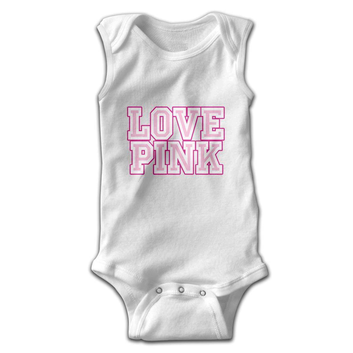 Love Pink Newborn Baby No Sleeve Bodysuit Romper Infant Summer Clothing Black