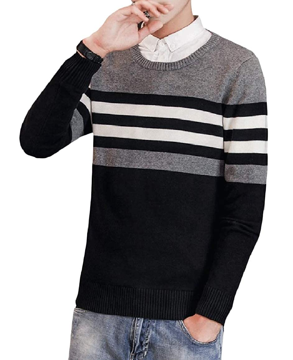 Nicelly Men Long-Sleeve Round Neck Knit Contrast Slim Oversized Striped Sweater