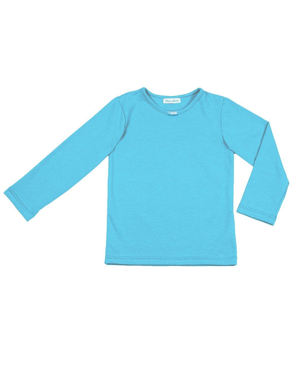 Petite Amelia Little Girls Long Sleeve Bow Tie Top, Size 14, Light Turquoise Blue