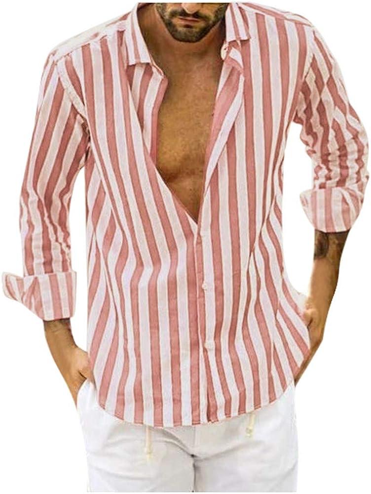 Yivise Camisa Casual Holgada para Hombre Camisas de Vestir de Manga Larga con Estampado de Rayas y Manga Larga(Rosado, Medium): Amazon.es: Ropa y accesorios