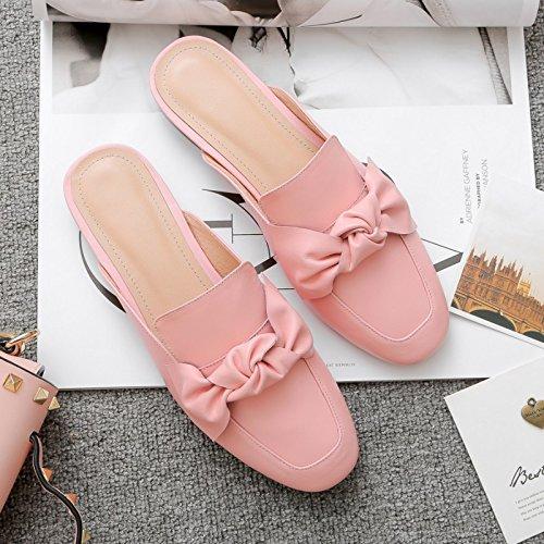 AJUNR Moda/elegante/Transpirable/Sandalias Pajarita Baotou zapatillas rosa fondo plano 2 cm 37 39