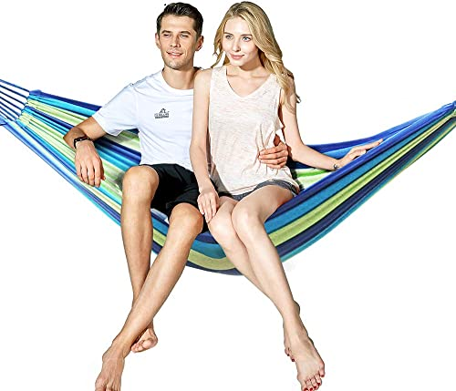 Hewolf Cotton 2 Person Hammock – Portable Brazilian Camp Hammock Lightweight Breathable Pool Lounge for Backyard,Porch,Date Outdoor and Indoor Two Person Hammock, Blue