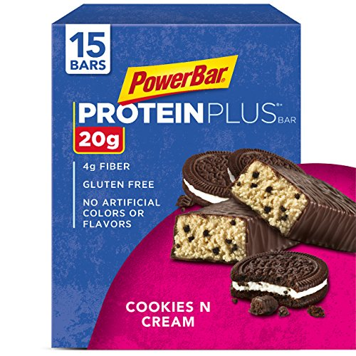 (PowerBar Protein Plus Bar, Cookies & Cream, 2.15 oz Bar, pack of 15)