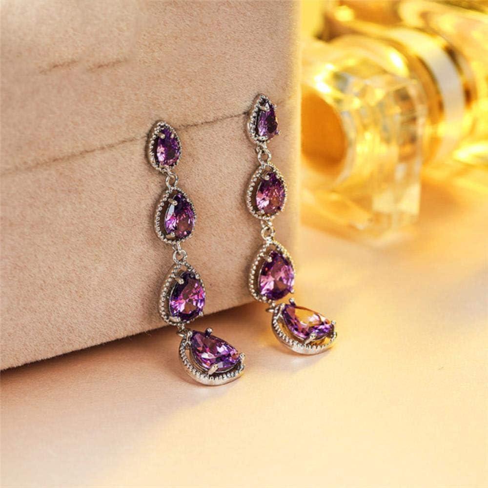 Pendientes colgantes de piedra de gota de agua de cristal para mujer Pendientes largos largos de circonita azul verde púrpura de la boda para mujeres