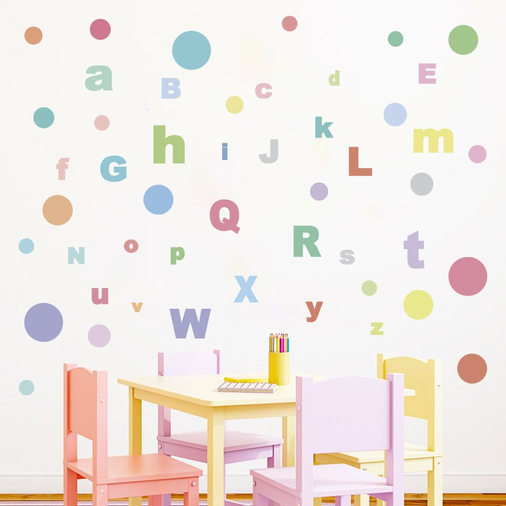 decalmile Alphabet ABC Wall Stickers Rainbow Colors Polka Dot Wall Decals Removable Wall Decor for Kid Bedroom Nursery Baby Room