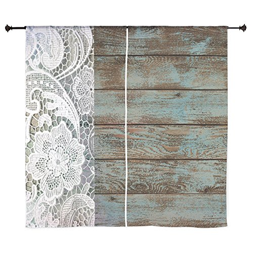 CafePress – Teal Barn Wood Lace Western Country Curtains – 60″ Decorative Window Curtains, Sheer Drapery Window Treatment