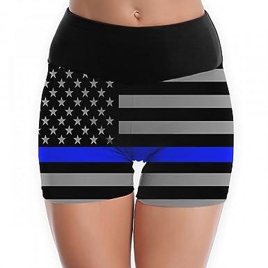 4731aab40a Amazon.com: Women's American Thin Blue Line Flag Yoga Shorts Workout Running  Capri Leggings Pants Hot Shorts: Clothing