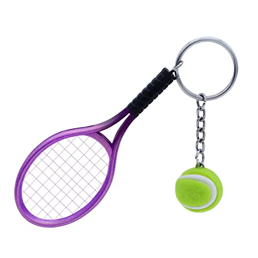 TOYMYTOY Llavero deportivo, lindo llavero de pelota de tenis púrpura, mini llavero de raqueta de tenis