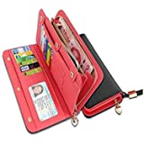Womens Walllet RFID Blocking Bifold Multi Card Case Wallet with Zipper Pocket