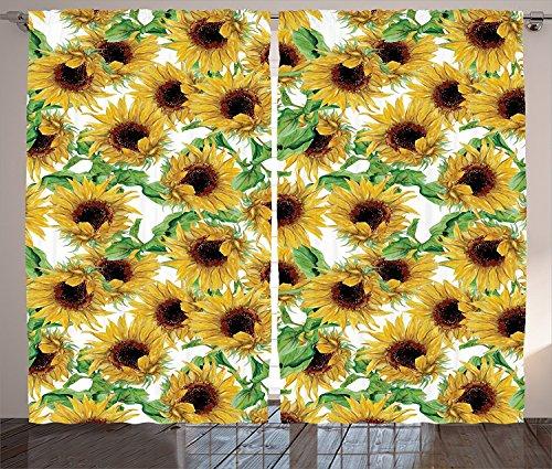Sunflower Wild Collection (Sunflower Decor Collection Dried Sunflowers Illustration Wildflowers Branch Herbarium Artistic Design Fine Art Living Room Bedroom Curtain 2 Panels Set)
