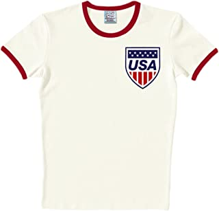 Logoshirt T-Shirt Slim Fit Equipe USA - Maglia Slim Fit Team USA - Maglietta Girocollo Quasi Bianco - Design Originale Concesso su Licenza